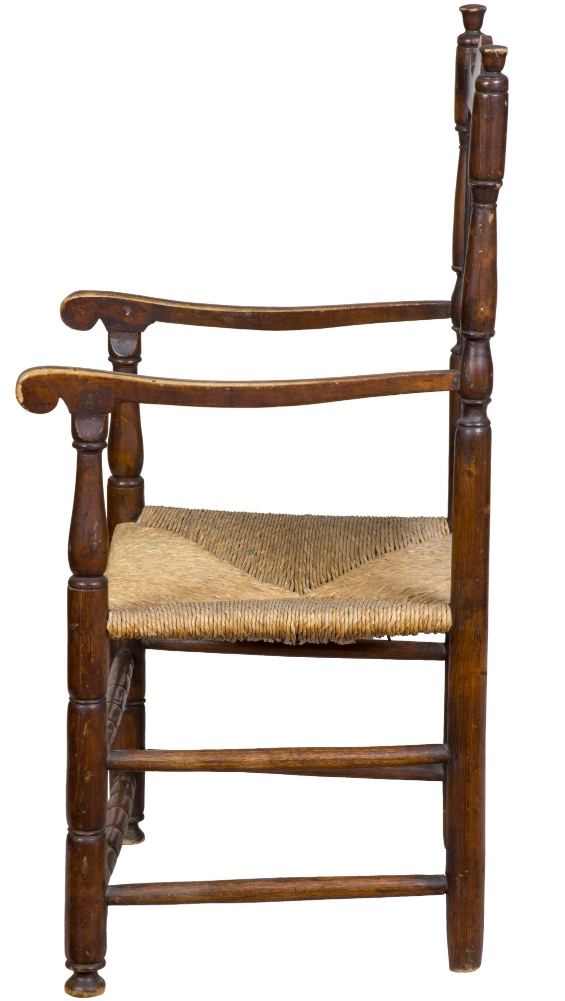 18th Century Maple William & Mary Bannister Back Armchair, Massachusetts, circa 1740-1750 For Sale
