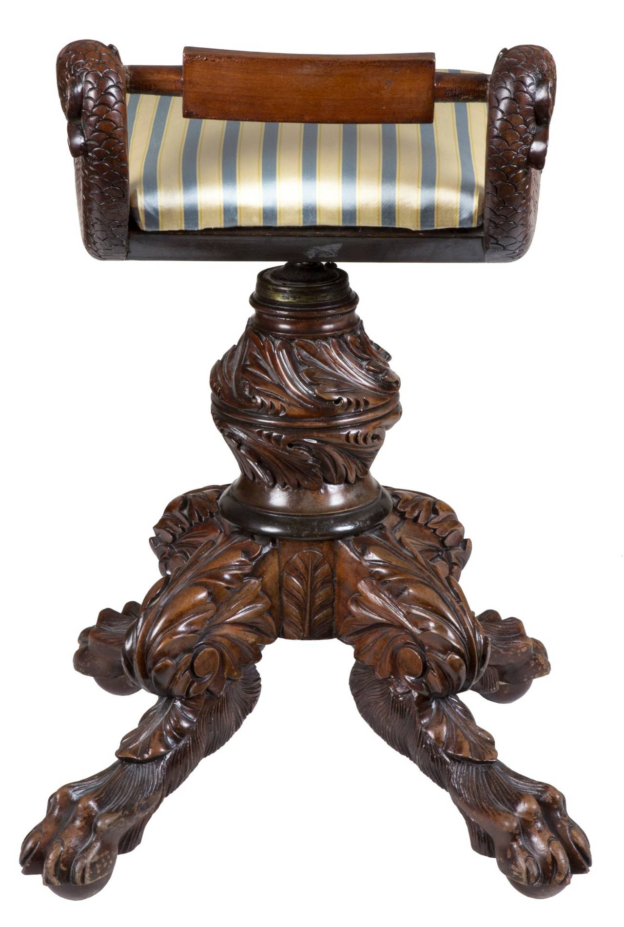 American Classical Classical Carved Mahogany Piano Stool with Dolphins, New York, circa 1825 For Sale
