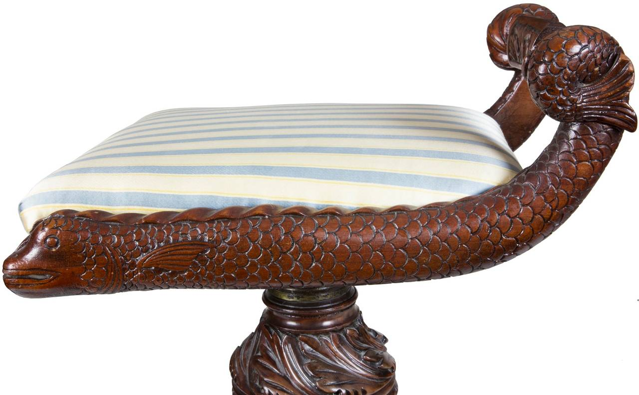 Classical Carved Mahogany Piano Stool with Dolphins, New York, circa 1825 For Sale 1