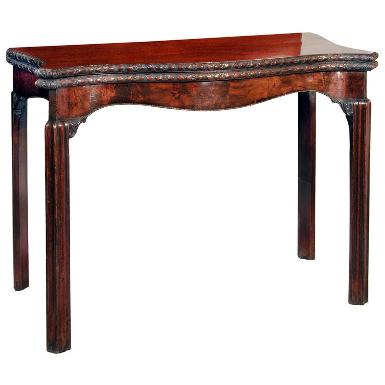 Carved Chippendale Card Table With Serpentine Apron 1