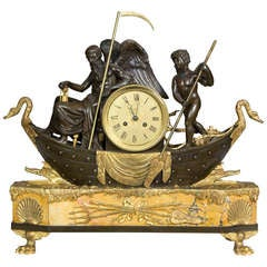 Large Bronze and Marble Clock Depicting Father Time