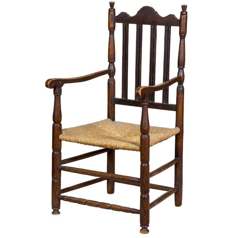 Maple William & Mary Bannister Back Armchair, Massachusetts, circa 1740-1750 For Sale