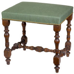 Turned, Over-Upholstered Walnut Stool Probably French, Early 18th Century