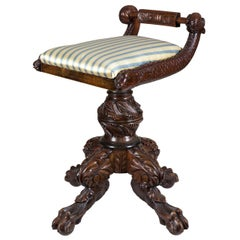 Classical Carved Mahogany Piano Stool with Dolphins, New York, circa 1825