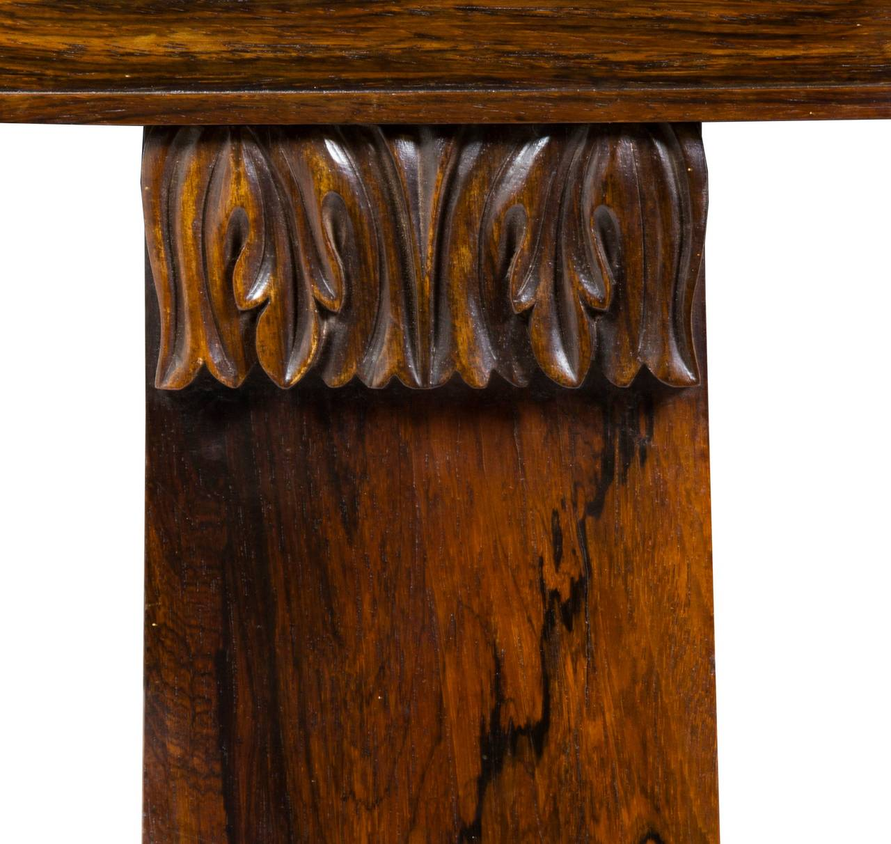 Classical or Regency Carved Rosewood Writing Table, England, circa 1830 In Excellent Condition For Sale In Providence, RI