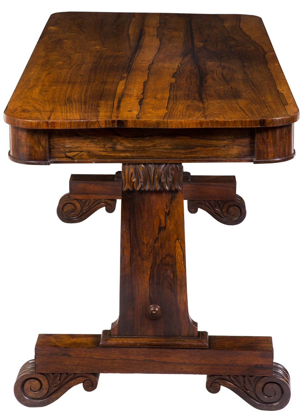 British Classical or Regency Carved Rosewood Writing Table, England, circa 1830 For Sale
