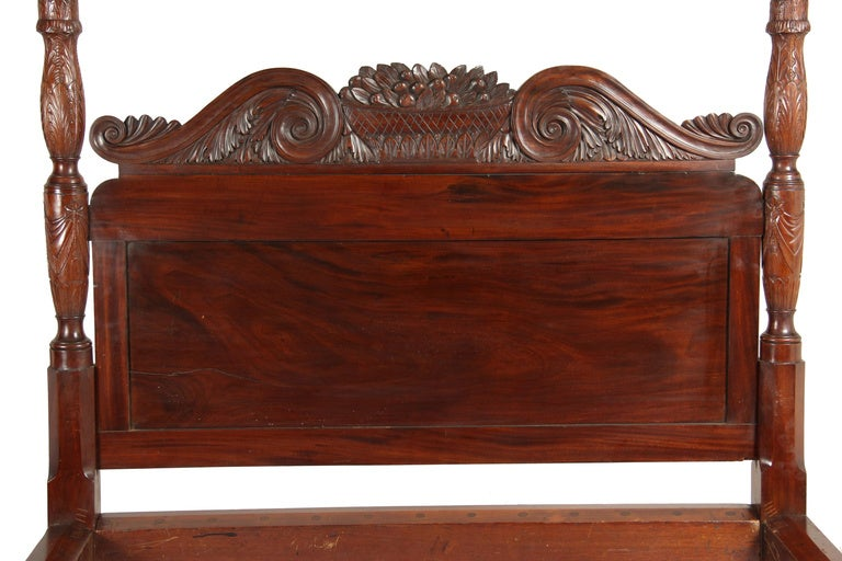 Carved mahogany classical post bed possibly