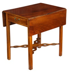 Mahogany Chippendale Pembroke Table with Pierced Stretchers