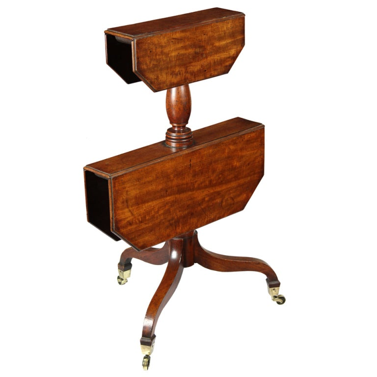 Mahogany Georgian Two-Tier Dumbwaiter with Collapsible Leaves, English