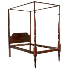 Carved Mahogany Sheraton Tall Post Bed