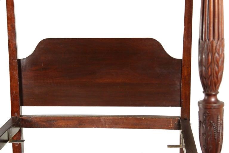 Carved mahogany sheraton tall post bed image