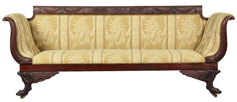 Carved Mahogany Classical Sofa with Dolphins, circa 1810, New York For Sale