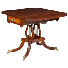 Classical and Federal Mahogany and Bird's-Eye Maple Drop-Leaf Table