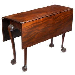 Chippendale Drop-Leaf Table with Striped Mahogany and Strong Claw and Ball Feet