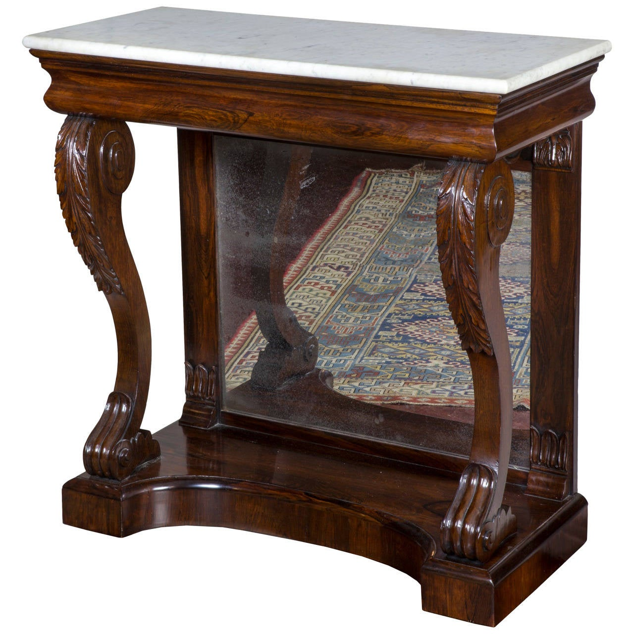 Rosewood Pier Table, Original Marble, Quervelle, Philadelphia, circa 1825