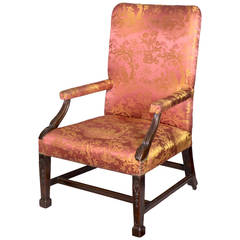 Chippendale or George II Carved Mahogany Armchair with Marlboro Legs, circa 1780