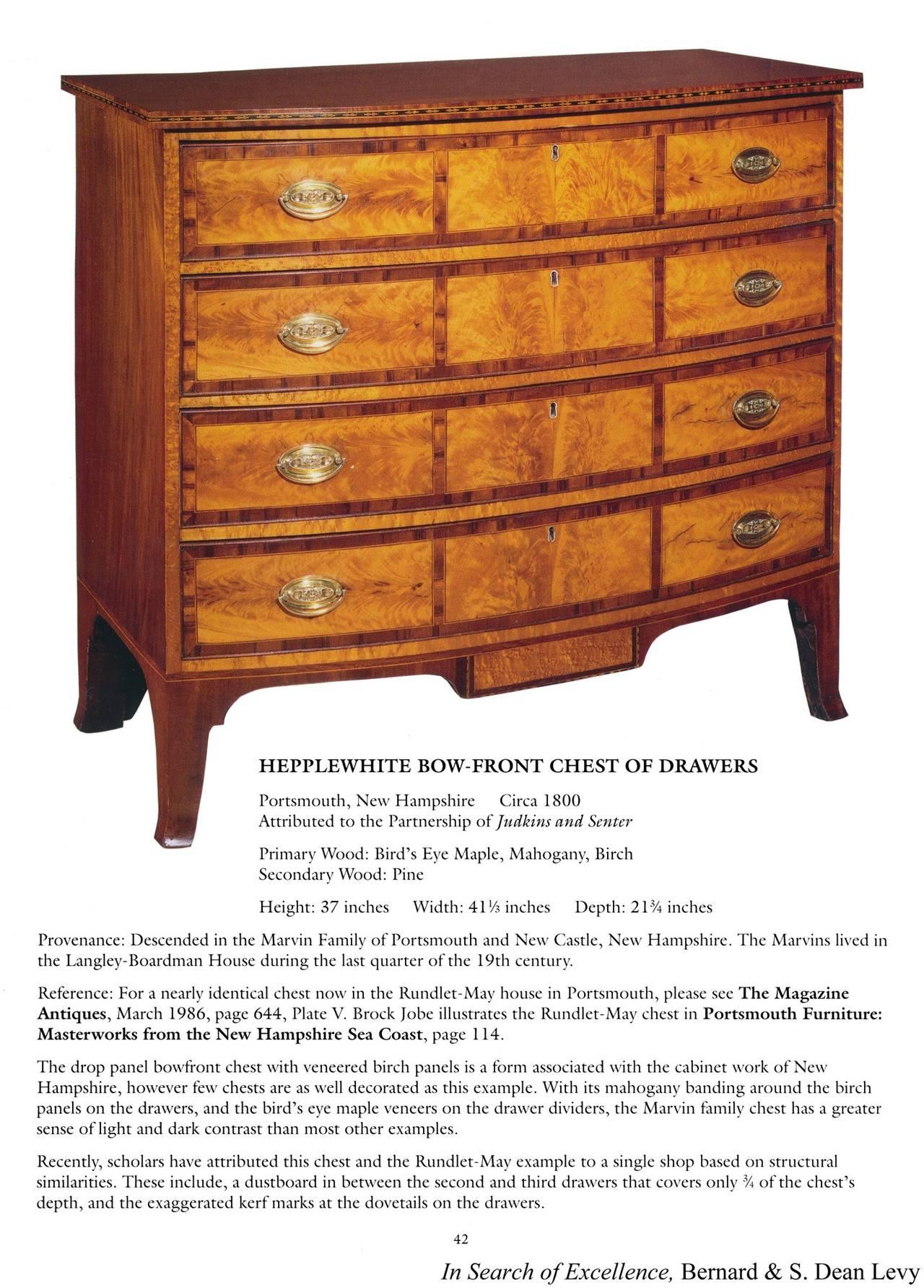 Hepplewhite Mahogany, Birch Inlaid Chest of Drawers, New Hampshire, circa 1815 For Sale 4