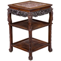 Magnificently Carved Square Marble-Topped Stand, China, Late 19th Century