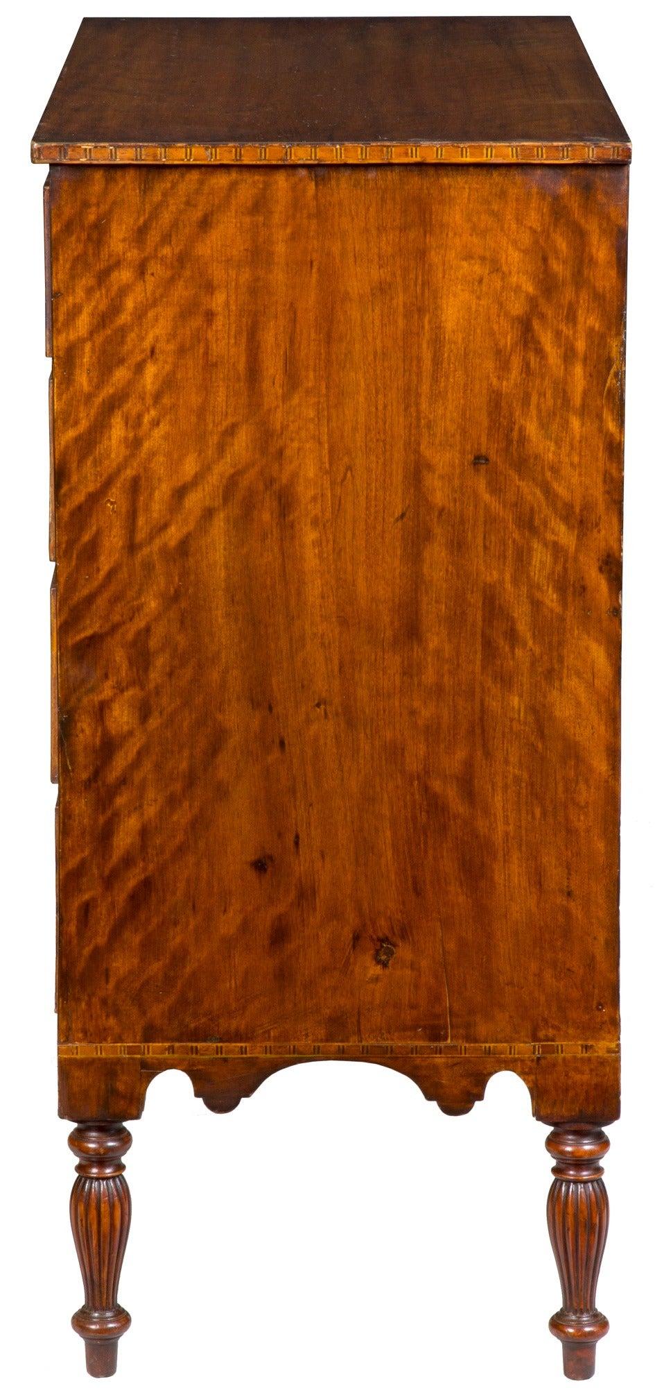 American Hepplewhite Mahogany, Birch Inlaid Chest of Drawers, New Hampshire, circa 1815 For Sale