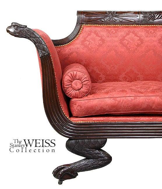 Classical Carved Mahogany Settee, Providence, RI, circa 1820-1830 4