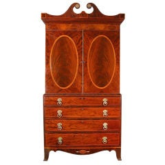 Monumental Hepplewhite Inlaid Mahogany Linen Press, England, circa 1810