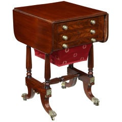 Carved Drop-Leaf Sewing Table, Boston, Possibly Seymour