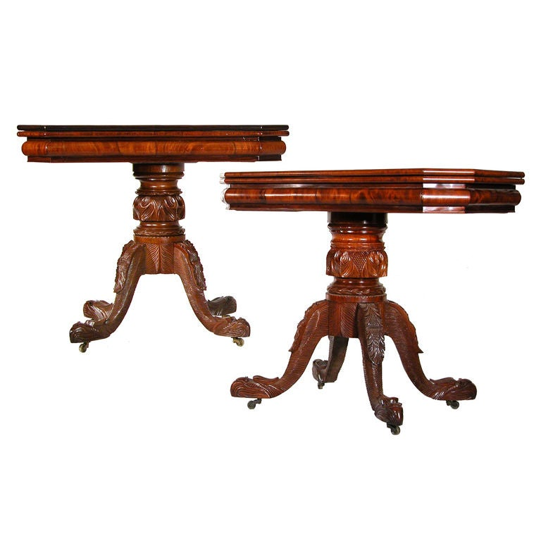 Pair of Carved Mahogany Classical Card Tables with Eagle Heads