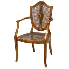 Edwardian Satinwood Shield Back Painted Open Armchair