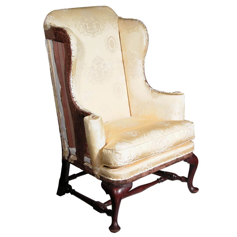 Maple Queen Anne Wing Chair Boston at 1stdibs