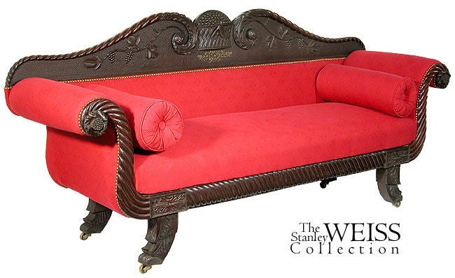 Rare Carved Classical Sofa with Chinese Chippendale Feet, Salem image 2