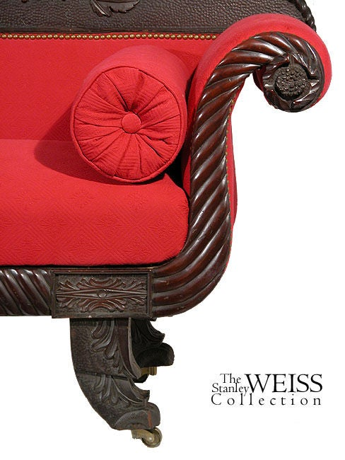 Rare Carved Classical Sofa with Chinese Chippendale Feet, Salem image 5