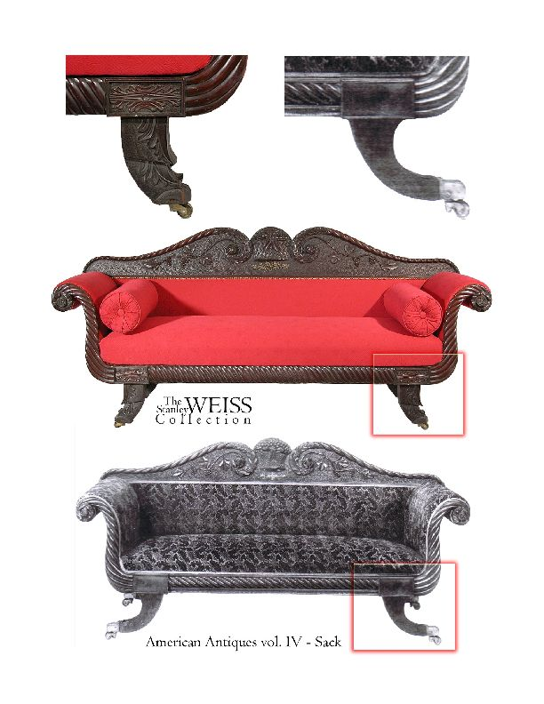 Rare Carved Classical Sofa with Chinese Chippendale Feet, Salem image 7