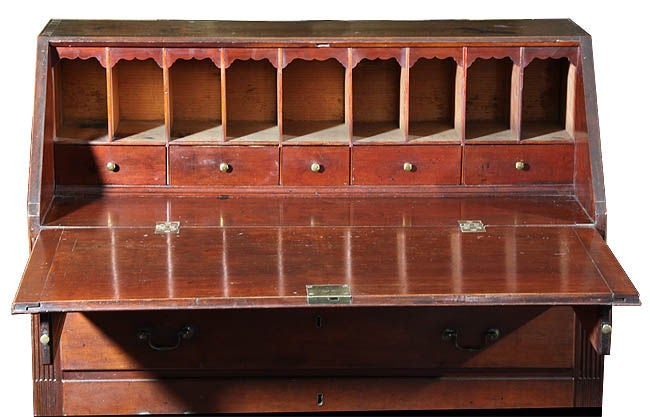 Chippendale slant top desk with stop fluting new london