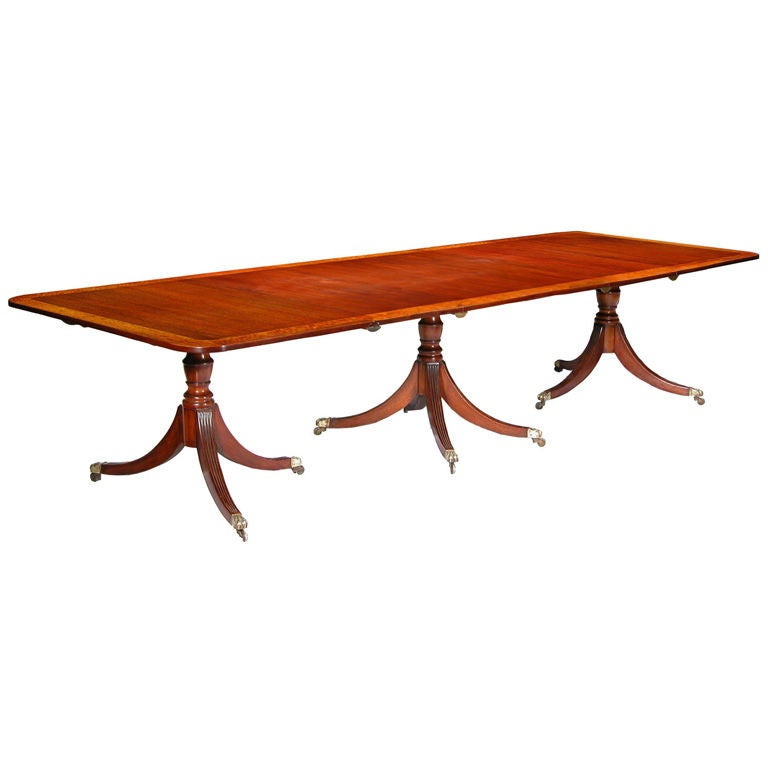 Satinwood Inlaid Three Pedestal Dining Room Table at 1stdibs : XXX907513009742431 from 1stdibs.com size 768 x 768 jpeg 28kB