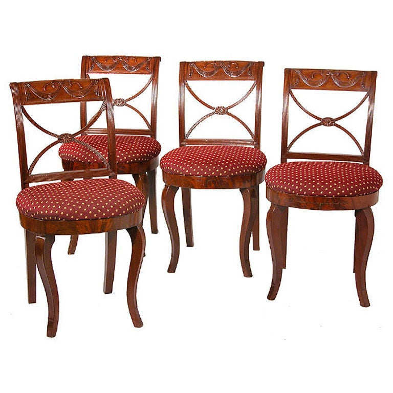 Set of Four Carved Classical Side Chairs, New York For Sale