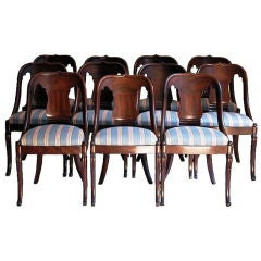 Set of Eleven Neoclassical Gondola Side Chairs, New York