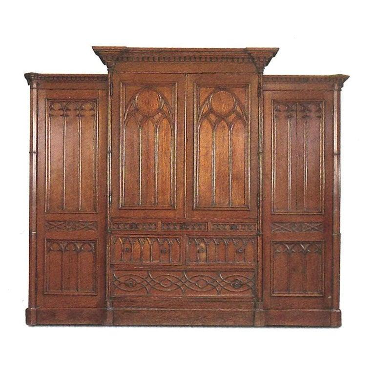 a gothic revival oak linen press at 1stdibs. Black Bedroom Furniture Sets. Home Design Ideas