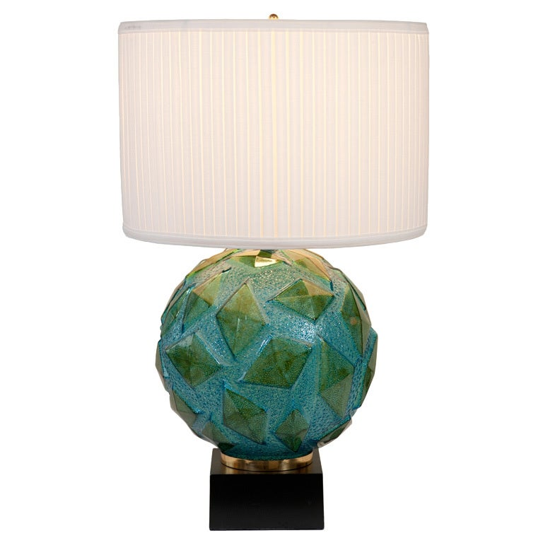 turquoise acrylic ball lamp at 1stdibs. Black Bedroom Furniture Sets. Home Design Ideas