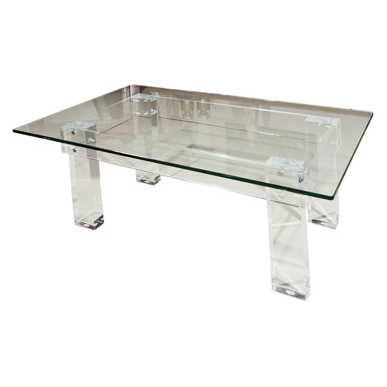 Chunky Leg Lucite Coffee Table At 1stdibs