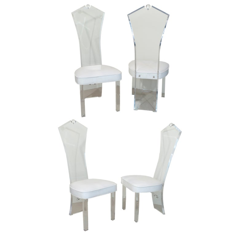 Set Of 4 Lucite Dining Chairs At 1stdibs