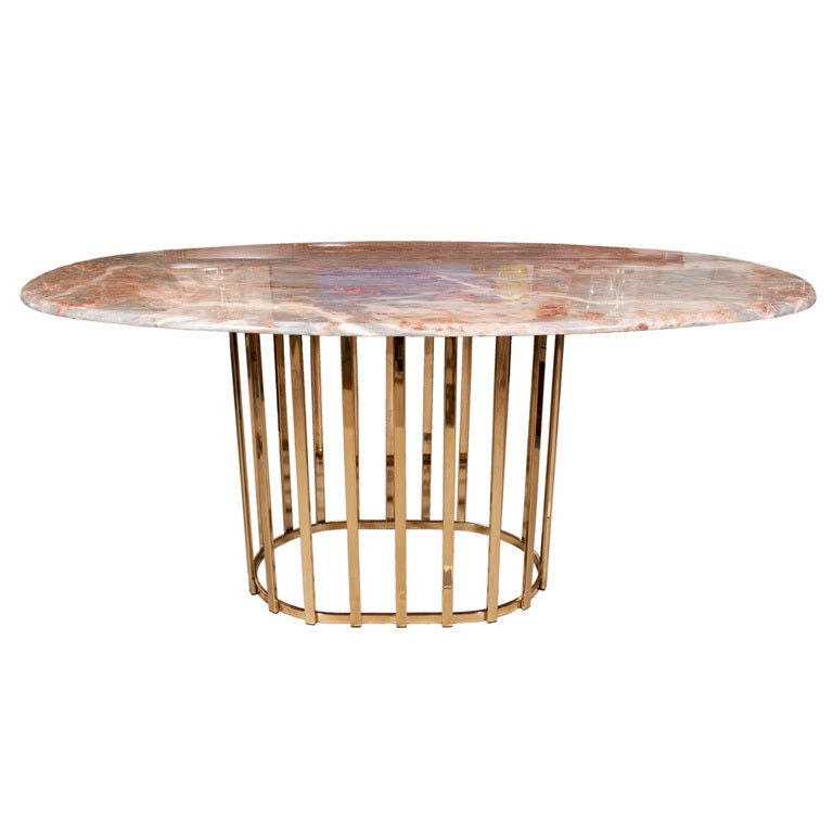 brass base with marble top oval dining table at 1stdibs. Black Bedroom Furniture Sets. Home Design Ideas