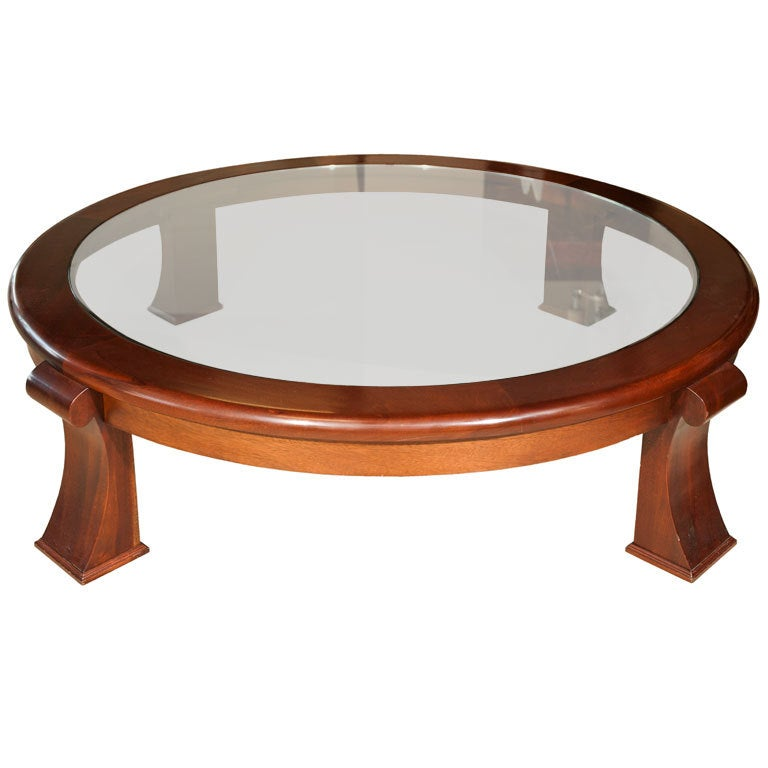 Large scale 60quot round mahogany glass top coffee table at for Large round glass top coffee table