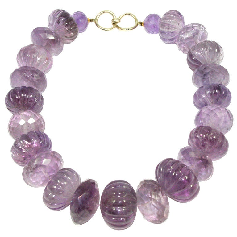 Large carved amethyst necklace by nancy b at 1stdibs for Nancy b fine jewelry