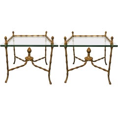 Faux Bamboo Brass Side Tables