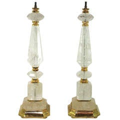 Pair of Rock Crystal lamps Gilded in 24kt Gold