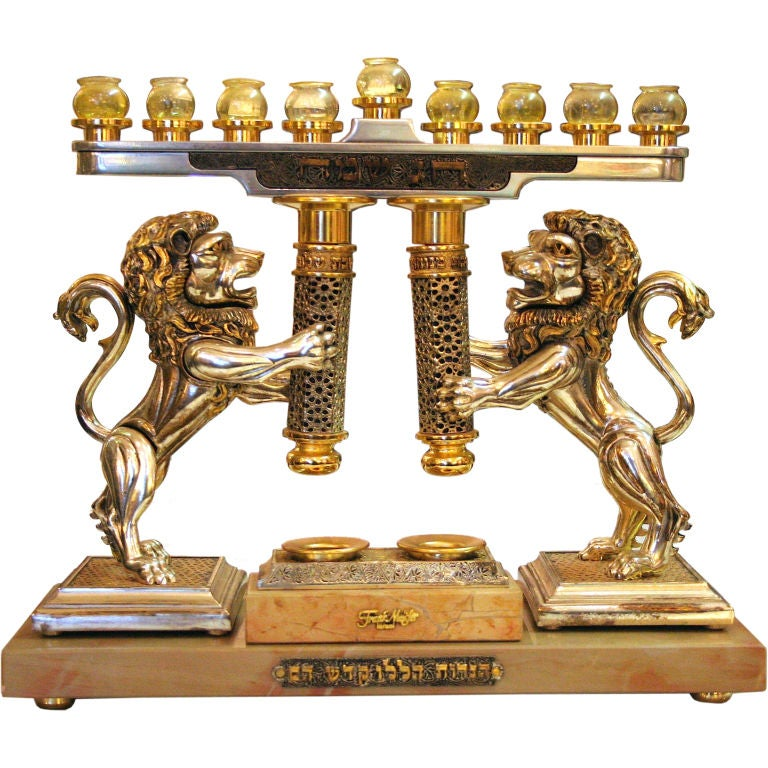 Lions Of Judah Candlesticks And Channukia By Frank Meisler