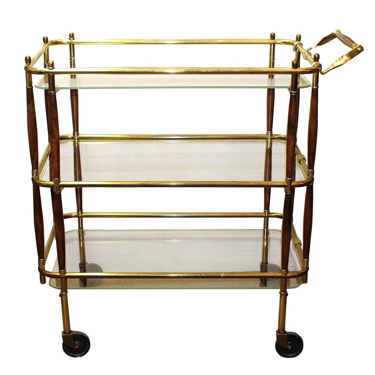 Wood And Brass Rolling Bar Cart At 1stdibs