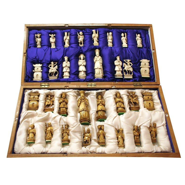 Hand Carved Ivory Chess Set At 1stdibs