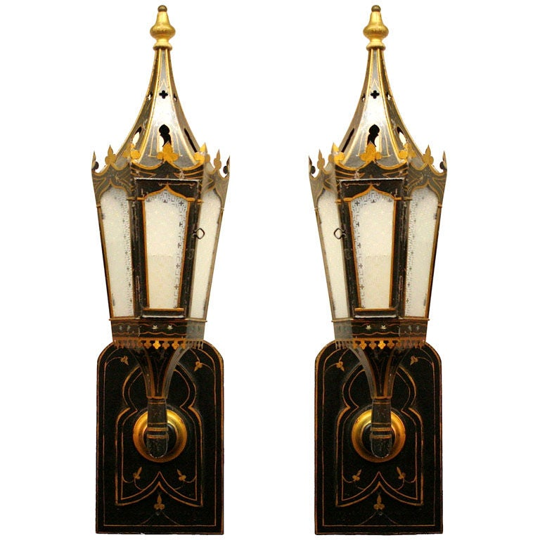 Superb Pair Of Tole And Etched Glass Lantern Sconces At