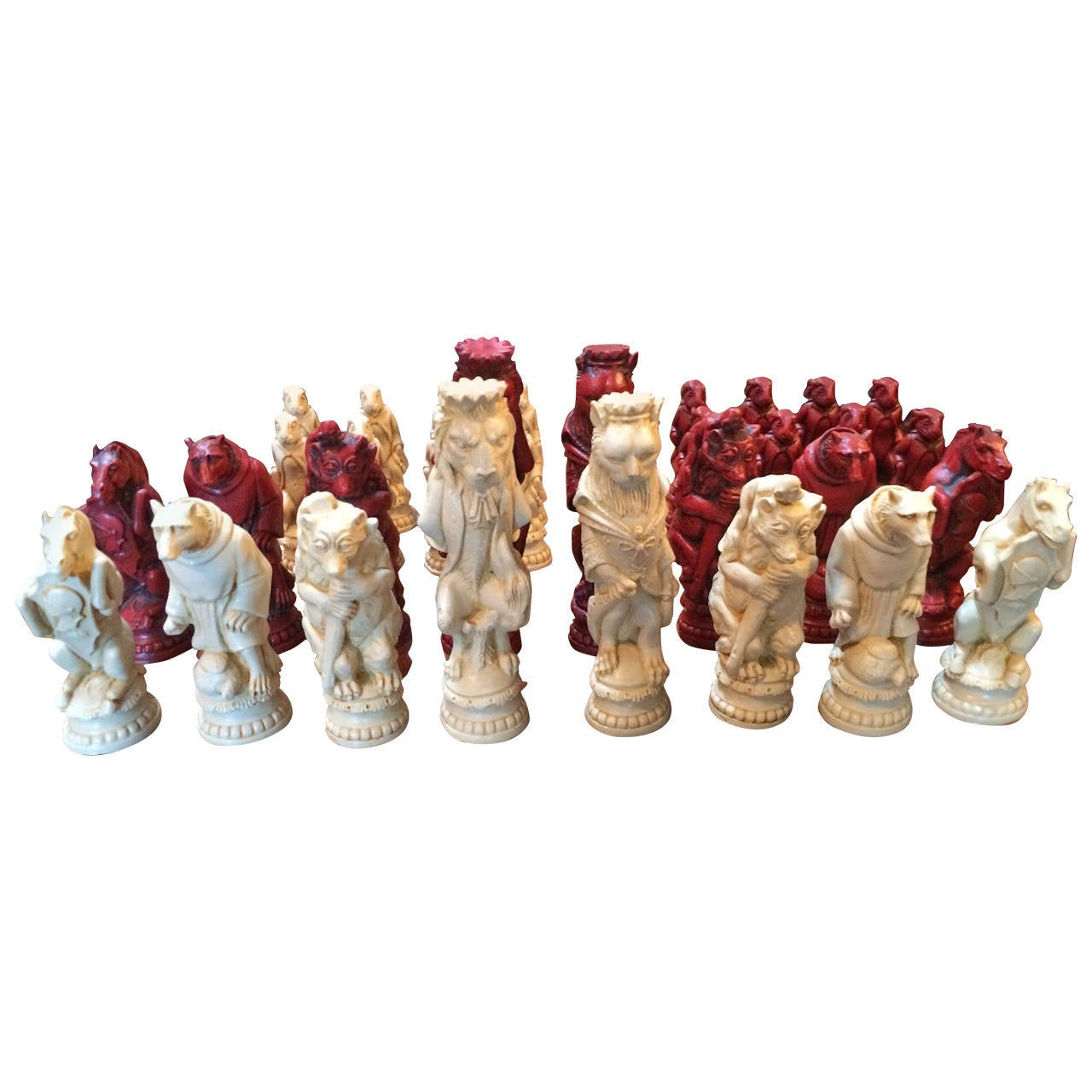 Oversized Animal Resin Chess Pieces At 1stdibs